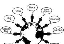 Global people say Hello World as symbols of language translation.