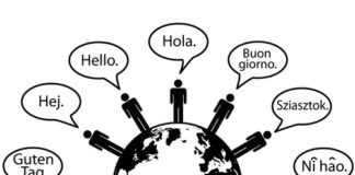 Global people say Hello World as symbols of language translation.