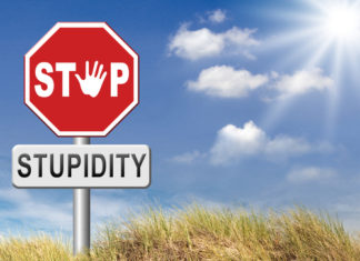Stop stupidity sign