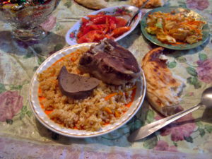 Rice and lamb in Kyrgyzstan.