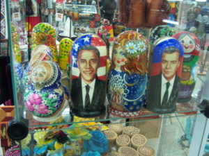 Obama and Medvedev Russian (matroshkis) stacking dolls