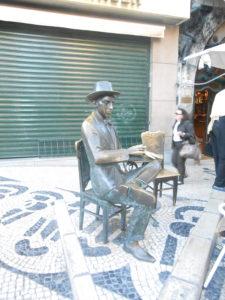 Fernando Pessoa statue, A Brasileira restaurant, Lisbon, Portugal