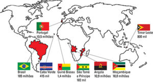 Map of Portuguese-speaking countries