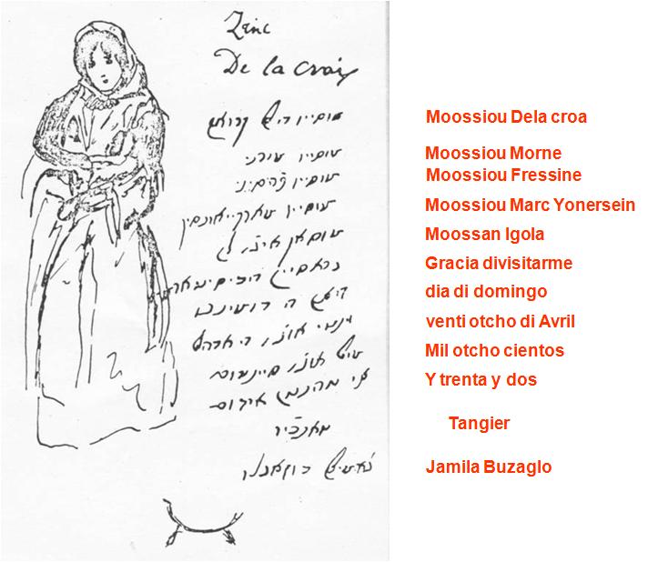 An original letter in Haketia from Tangier, written in 1832.