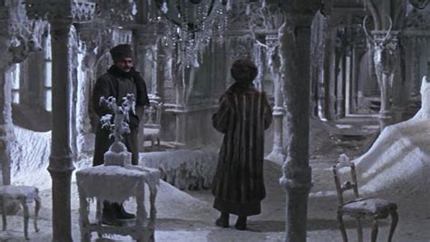 Zhivago and Lara in frozen home with icicles and snow